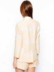 Blazer in Metallic Pastel Stripe
