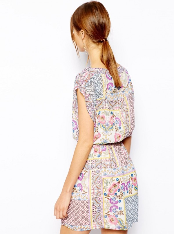 Warehouse Patchwork Print Dress