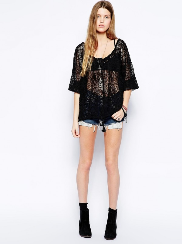 Denim & Supply By Ralph Lauren Lace Peasant Top