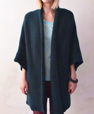 Long Green Knitted Poncho