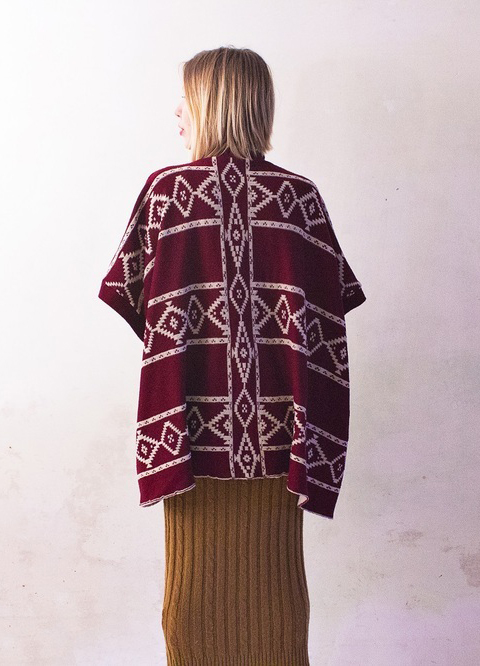 Oversized Burgundy Ethnic Pattern Poncho