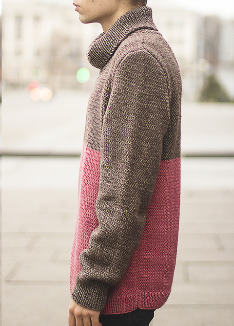 Blocked Turtleneck Sweater
