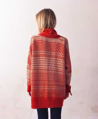 Orange Pattern Oversized Cardigan