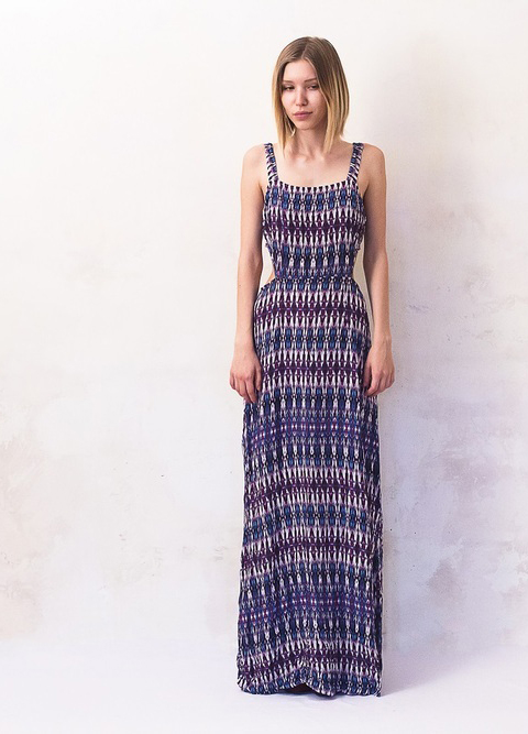 Long Mosaic Pattern Summer Dress